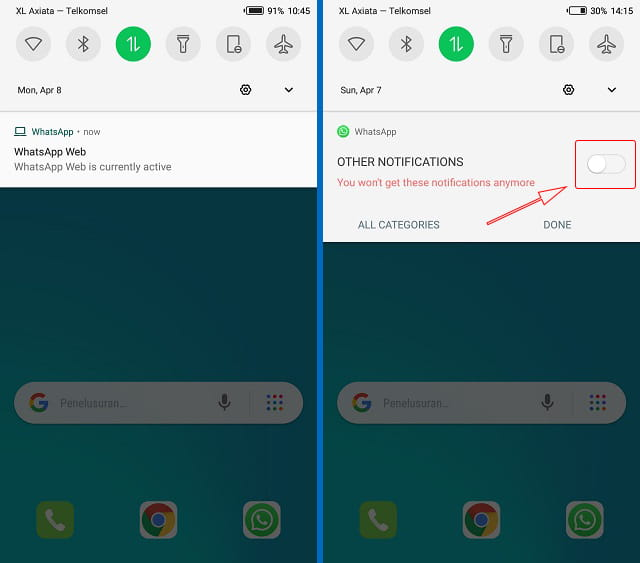 Cara mematikan notifikasi WhatsApp Web is currently active melalui panel notifikasi Android