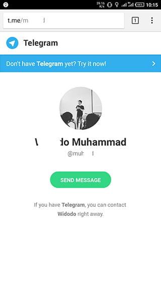 mengirim pesan telegram tanpa menyimpan kontak