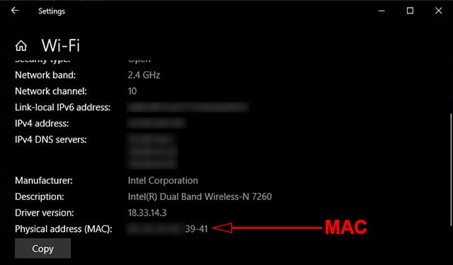 Melihat MAC Address Windows 10