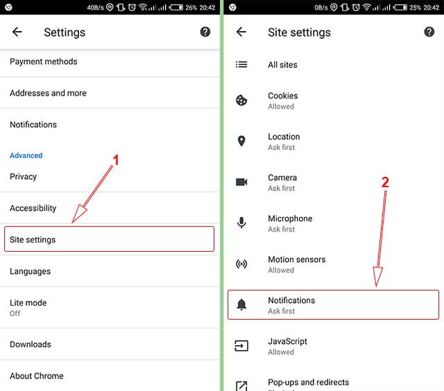 Mengatur notifikasi situs di Google Chrome Android