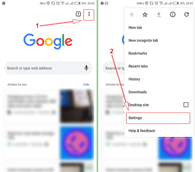 Mengubah pengaturan Google Chrome di Android