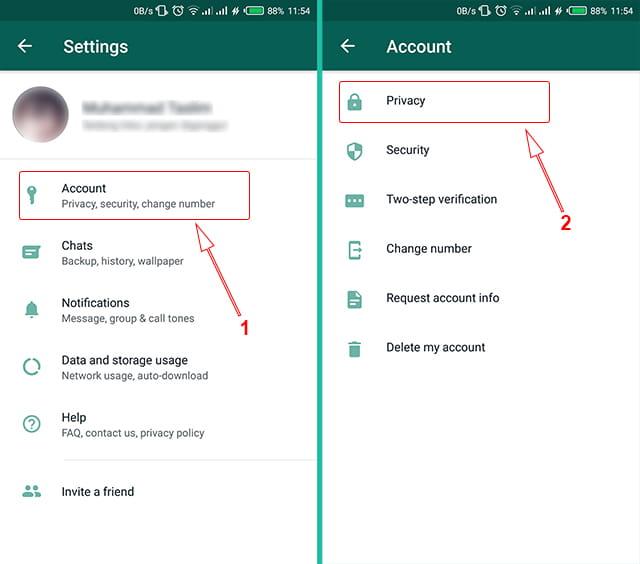 melakukan pengaturan privasi di WhatsApp