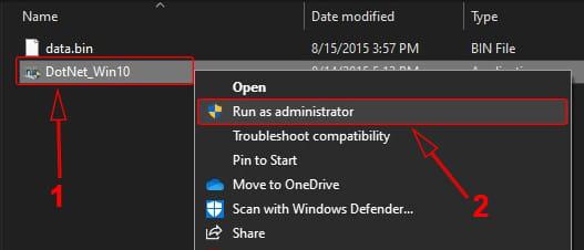 Menjalankan file dotnet Windows 10