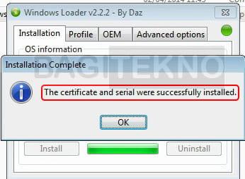 Windows 7 berhasil teraktivasi menggunakan Loader