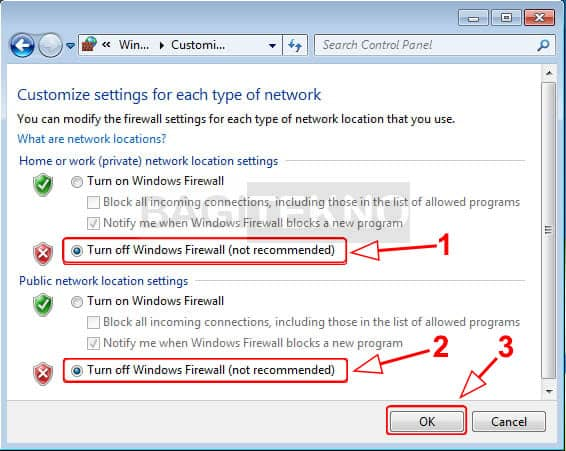Mematikan Windows Firewall