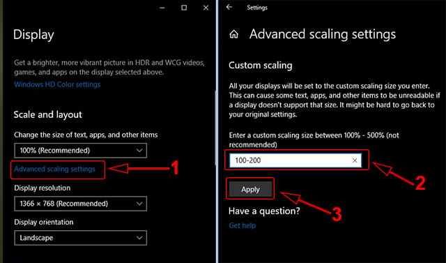 Custom Scale Windows 10