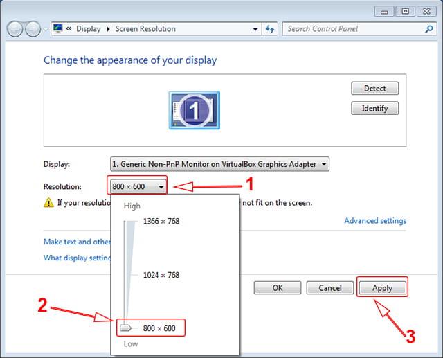 Memperbesar tampilan layar proyektor di Windows 7 dan Windows 8/8.1