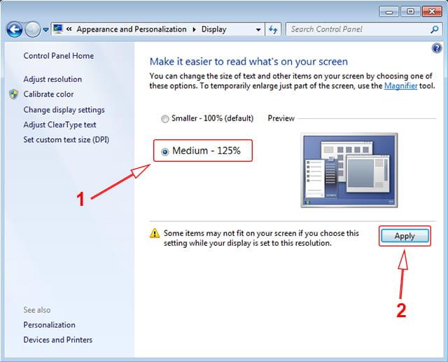 Mengubah skala tampilan Windows 7 dan Windows 8/8.1