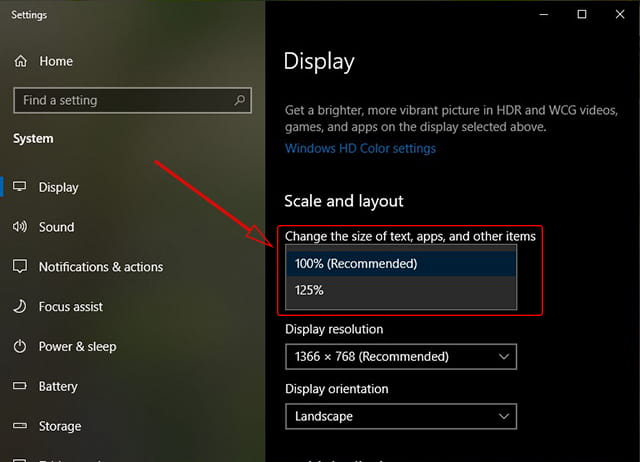 Mengganti skala layar Windows 10