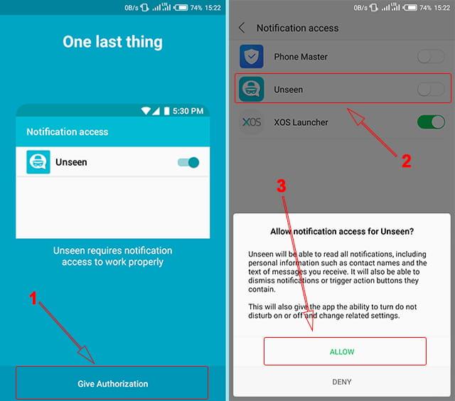 Memberikan akes notifikasi aplikasi Unseen