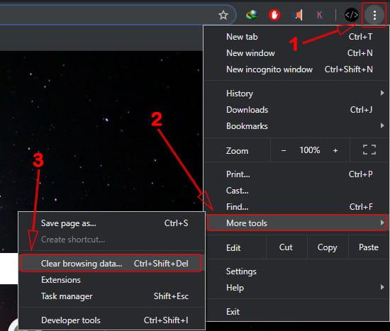 menghapus data chrome Laptop