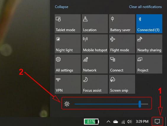 Mengatur kecerahan Laptop Windows