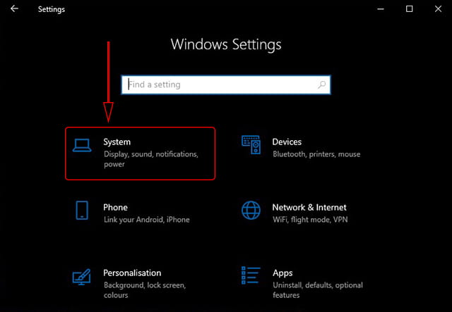 Windows 10 sytem Settings