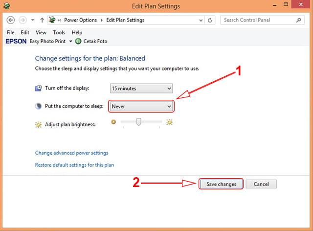 Cara agar laptop tidak sleep otomatis di Windows 7 atau 8/8.1