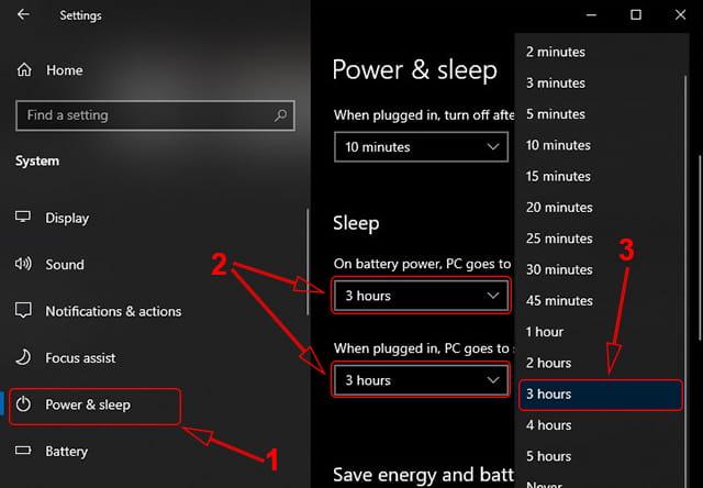 Setting Power and Sleep Windows 10