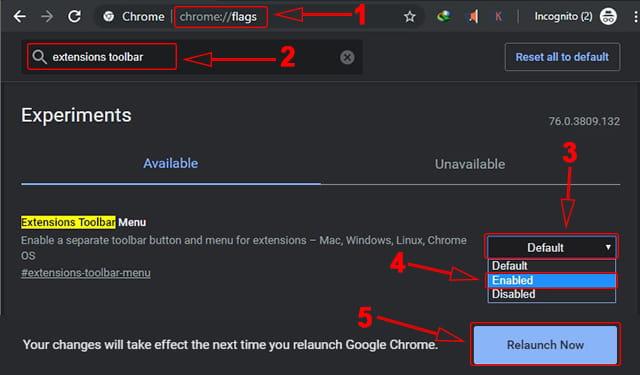 Cara mengaktifkan Extension Toolbar Menu Google Chrome