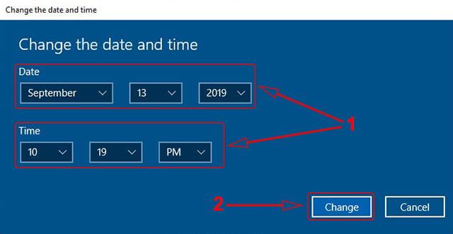 Mengubah tanggal dan jam di Windows 10