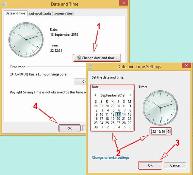 Memperbaiki waktu yang salah di Windows 8/8.1