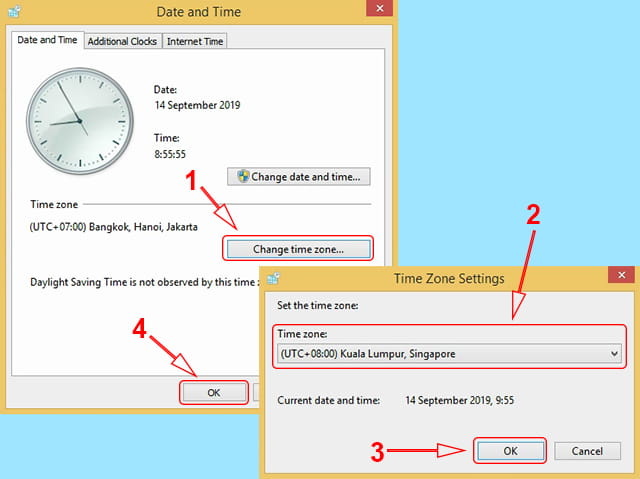 Mengubah zona waktu di Windows 7 dan Windows 8/8.1