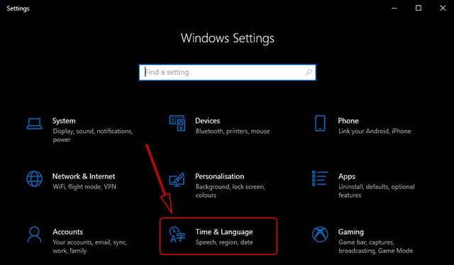 Pengaturan waktu Windows 10
