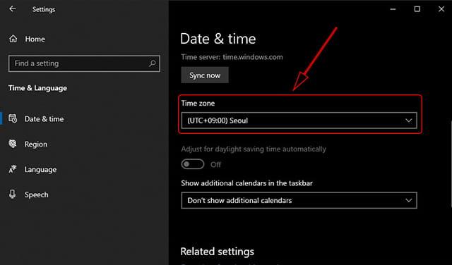 Mengatur zona waktu di Windows 10