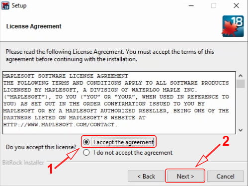 License agreement setup Maple 18