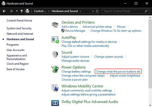 Change power options in Windows