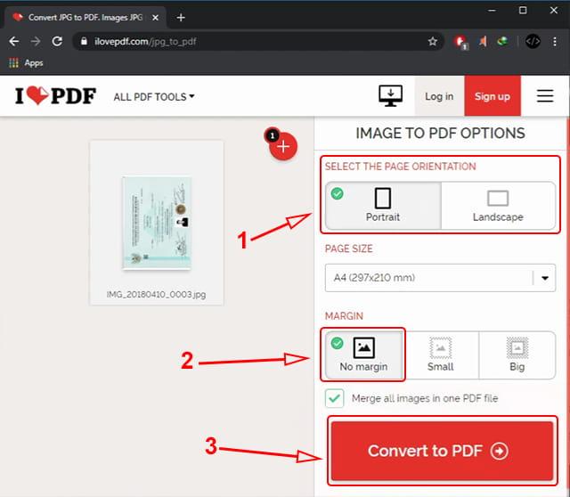Konversi gambar ke pdf secara online