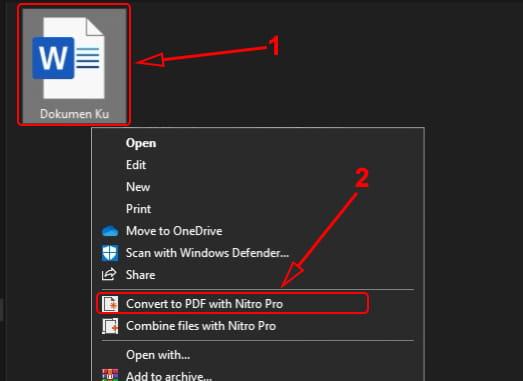 Mengubah Word menjadi pdf menggunakan Nitro Pro