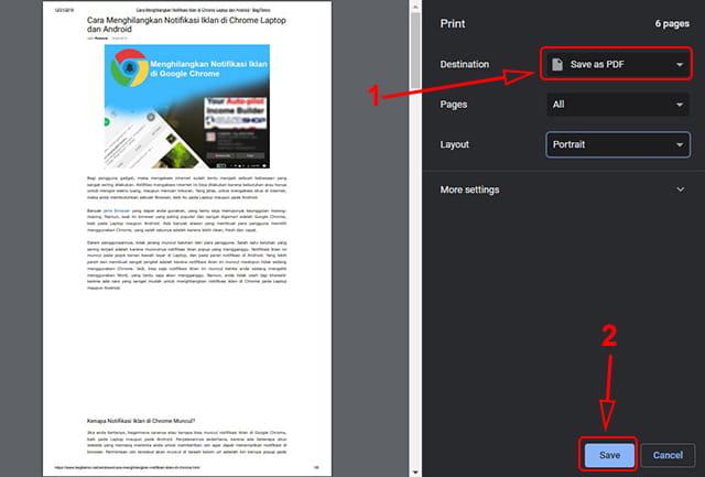 Cara mengubah halaman web menjadi pdf