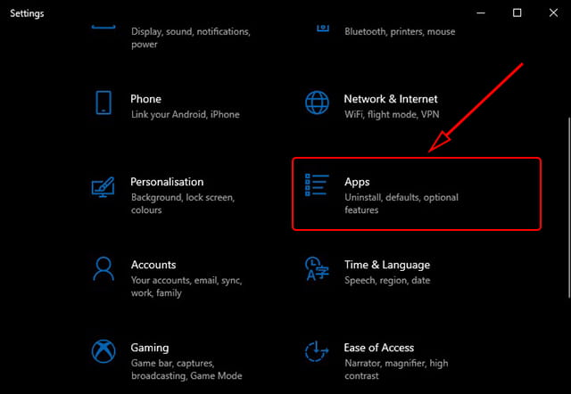 Apps Settings Windows 10
