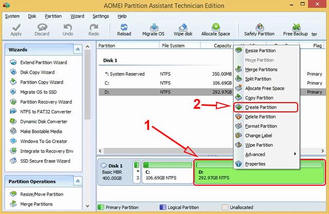 Cara membuat partisi baru menggunakan Aomei Partition Assistant