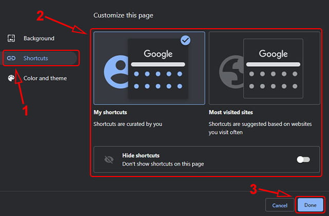 Mengatur shortcut Google Chrome, ditampilkan atau disembunyikan