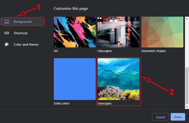 Mengganti latar belakang browser Google Chrome