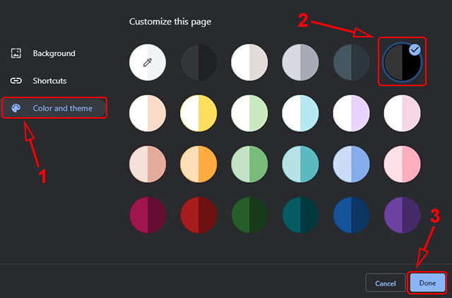 Memilih warna sebagai tema Google Chrome