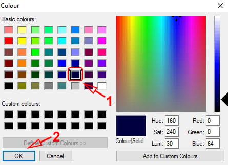 Memilih warna melalui color picker