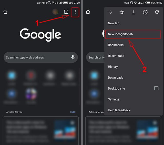 Cara menggunakan incognito mode di Chrome Android