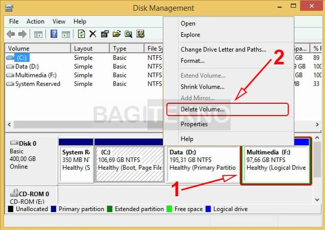 Cara menghapus partisi hardisk eksternal dan internal menggunakan Disk Management