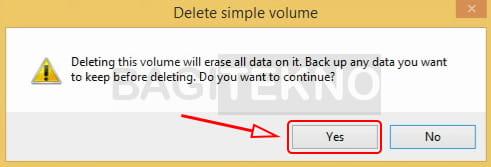 Konfirmasi menghapus partisi hardisk di Windows