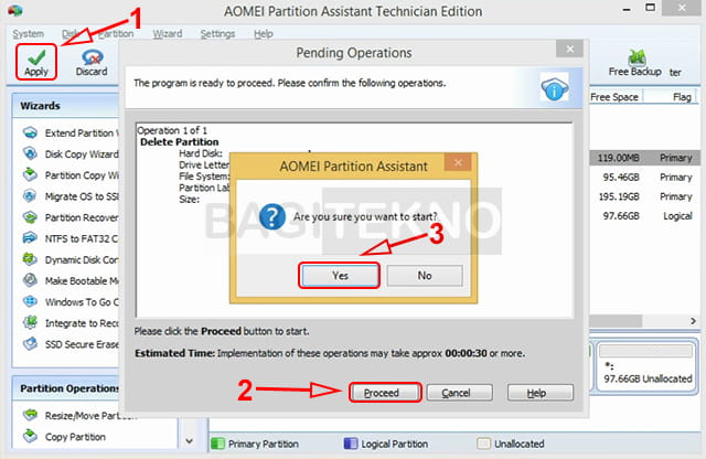 Delete partisi menggunakan Aomei Partition Assistant