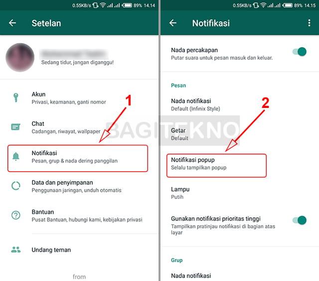 Cara mengatur notifikasi WhatsApp