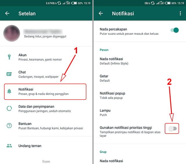 cara menghilangkan notifikasi yang menampilkan isi pesan wa di layar atas