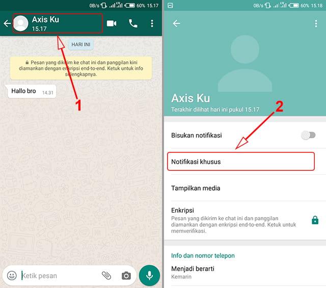 membuat notifikasi khusus pada orang tertentu di WhatsApp