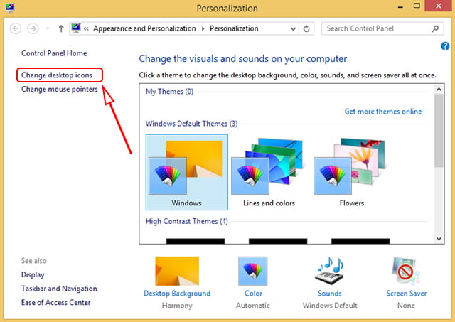 Change desktop icon Windows 8.1