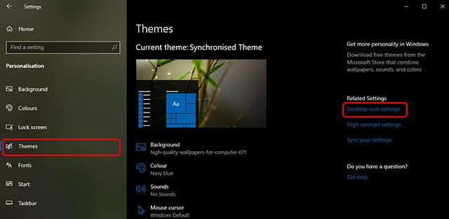 Setting Desktop icon Windows 10