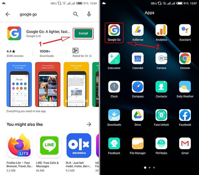 Cara install aplikasi Google Go