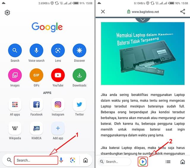 Pembaca teks halaman web di Android