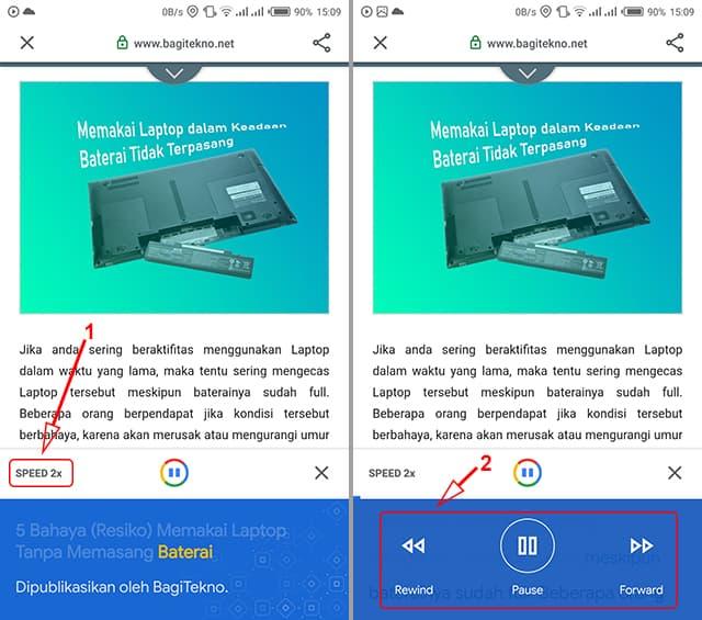 Mengubah teks halaman web menjadi suara di Android