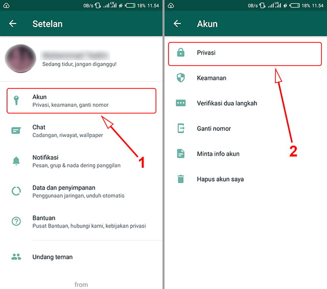 Pengaturan privasi WhatsApp