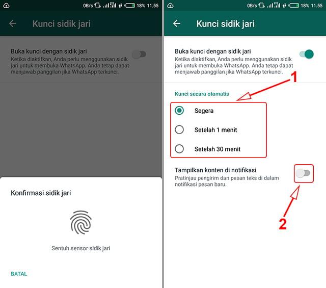 Cara mengunci WA dengan sidik jari tanpa install aplikasi